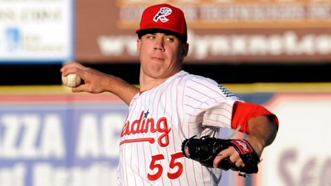 Trevor May leads the Eastern League with four wins and 26 strikeouts.
